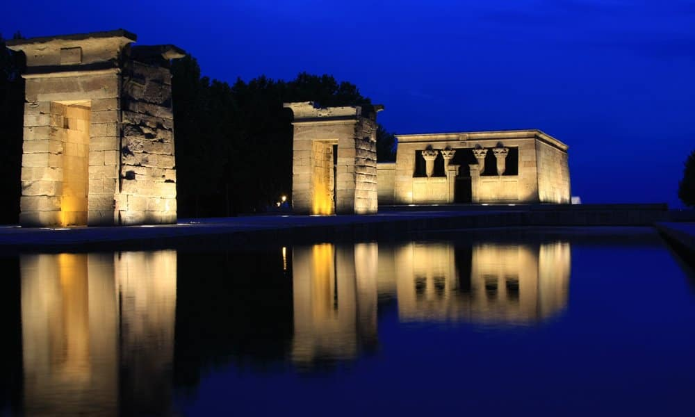 The Temple of Debod in the water feature of Madrid's Parque del Oeste.