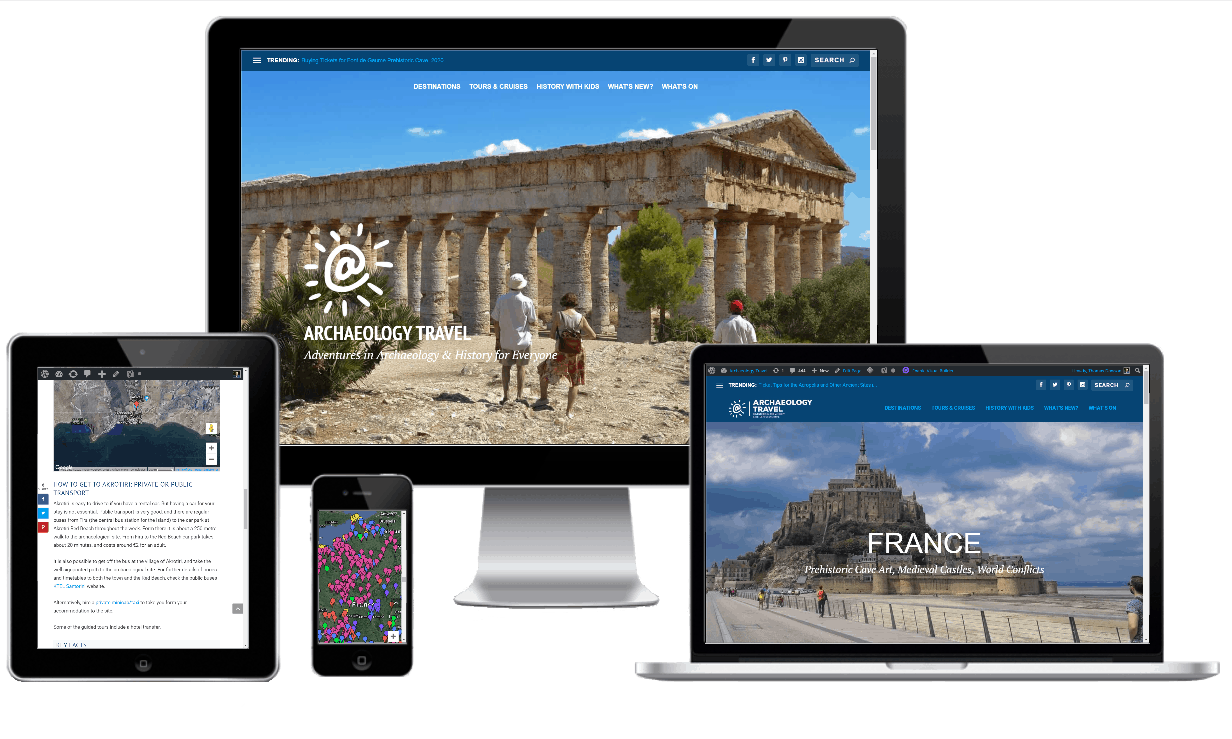 Archaeology Travel website as seen on different devices.