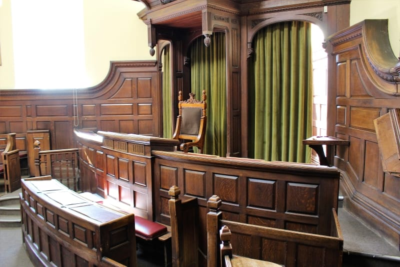 Inside the Crown Court at Salisbury Guildhall.