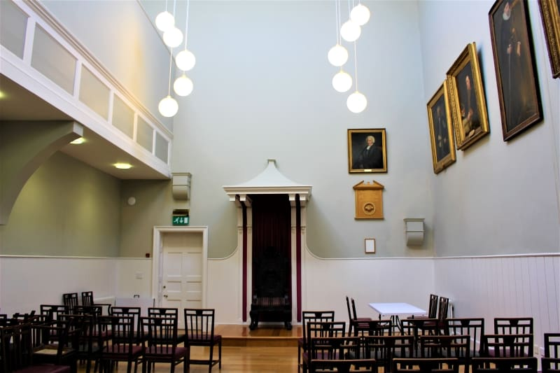 Inside the Crown Court in the Guildhall in Salisbury.