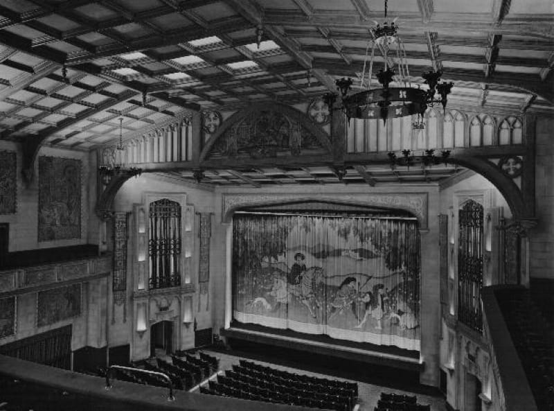 A black and white photo of how the Gaumont theatre in Salisbury looked.