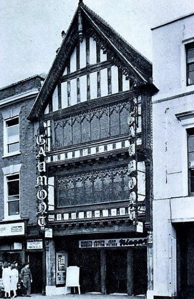 An old black and white photo of the outside of the Gaumont Theatrre in Salisbury.