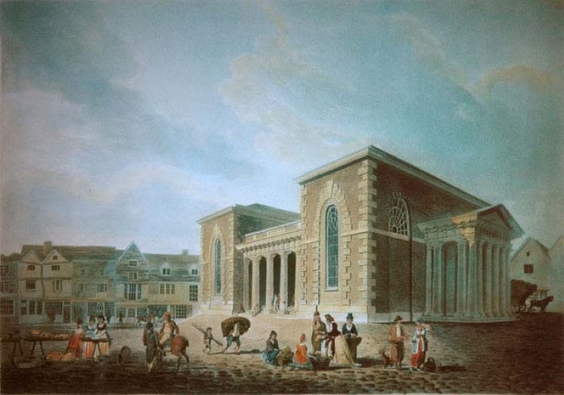 A painting of the Guildhall just after it was built in 1795.