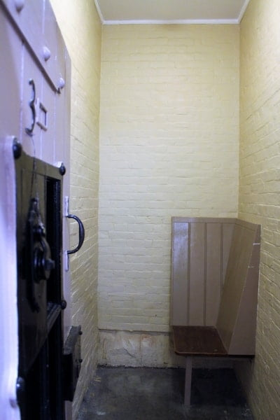 Inside one of the jail cells.