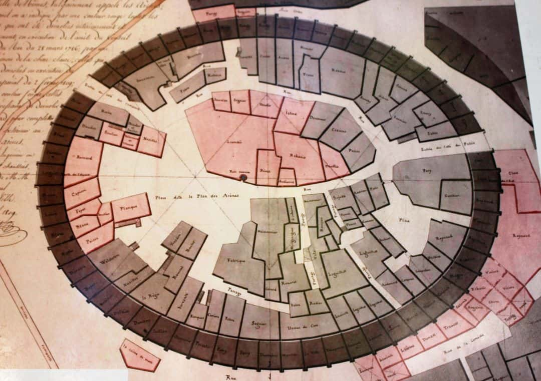 A map of all the houses inside the arena in Medieval times.