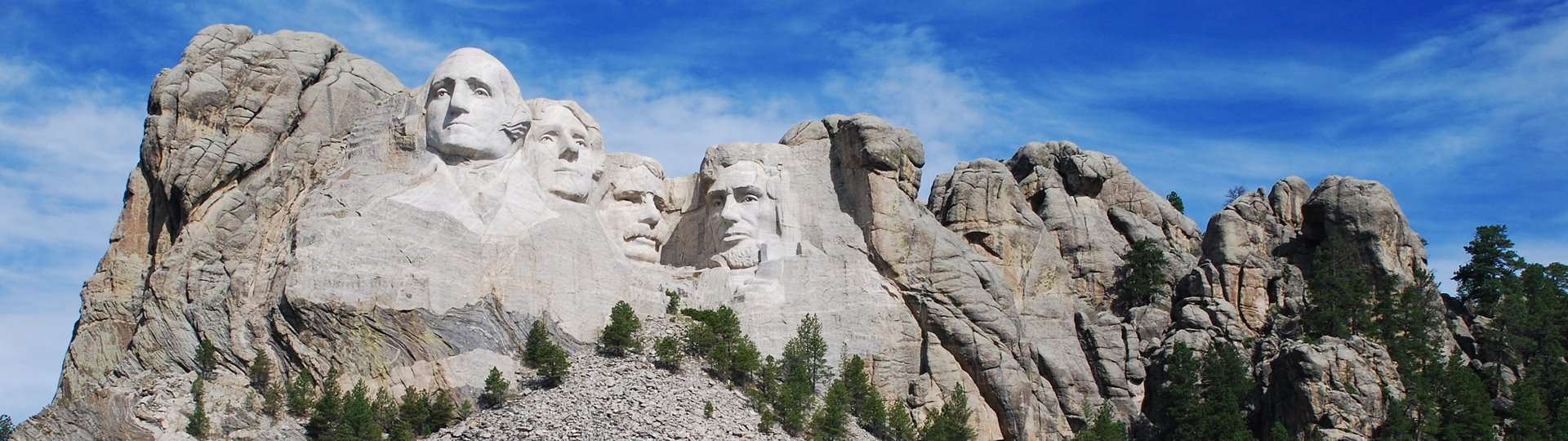 The giant carvings of four American presidents at Mount Rushmore, South Dakota.