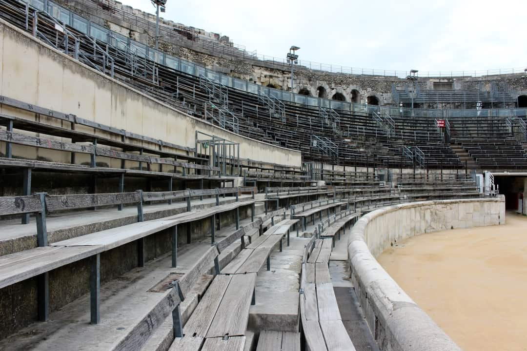 The lower seats where the patricians sat in the Arena at Nimes.