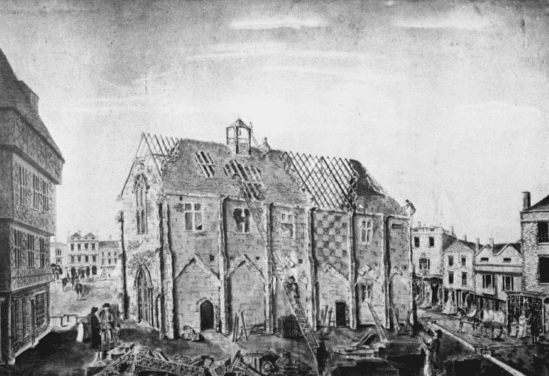 A drawing of the old Bishops Guildhall being demolished.