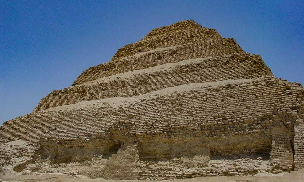 Close up of the Step Pyramid in Saqqara showing the fragile bricks.