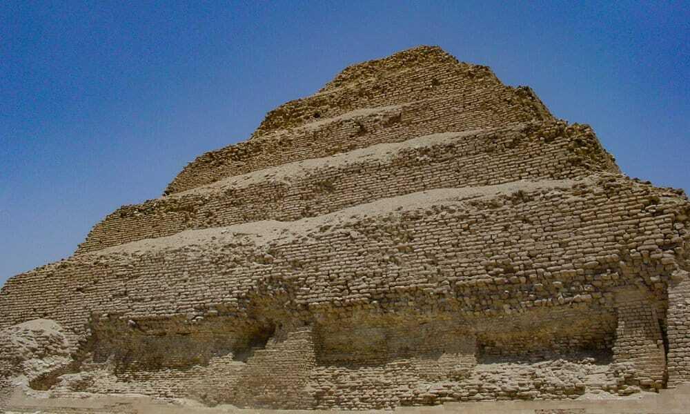 Close up of the Step Pyramid in Saqqara showing the fragile bricks.