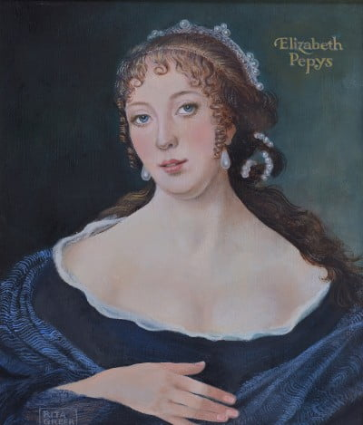 A portrait of Elizabeth Pepys.