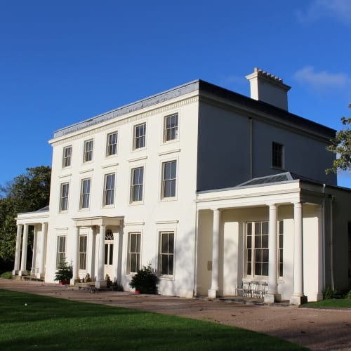 The exterior of Agatha Christies House in Devon.