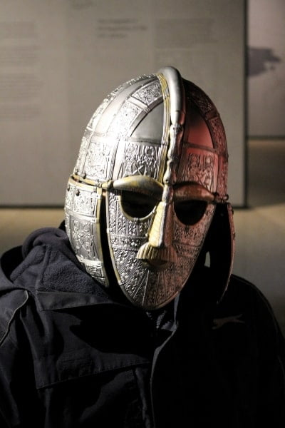 My son wearing a replica of the Sutton Hoo helmet.