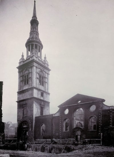 A black and white photo of bomb damage at St Mary-le-Bow church in London.