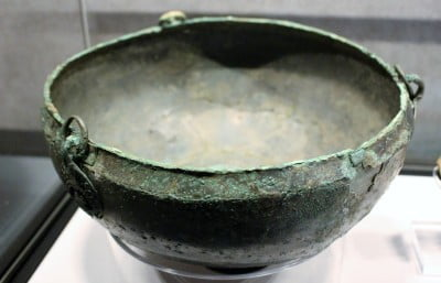 A close up of a bowl used to hold cremated ashes found in Sutton Hoo in Suffolk.