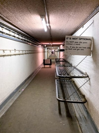 A view down the entrance tunnel in the nuclear bunker at Kelvedon.