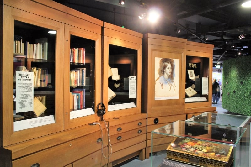 A display in the museum showing full bookcases.