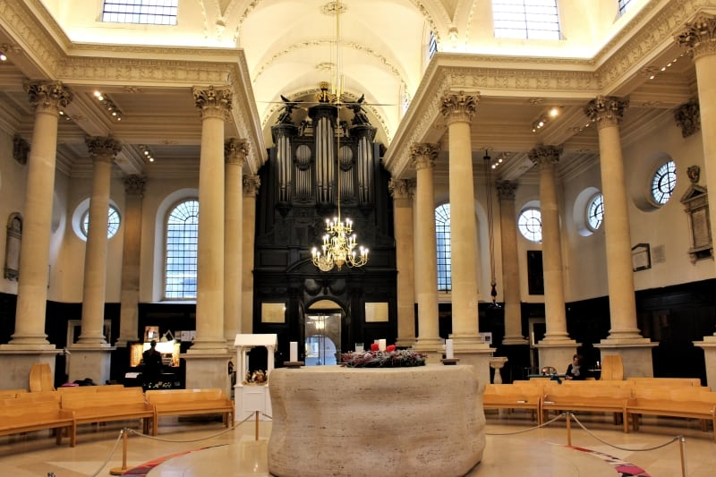 The west end of the inside of St Stephen Church showing the Henry Moore altar.