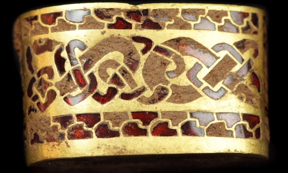 A beautifully decorated sword hilt-piece from the Staffordshire Hoard.
