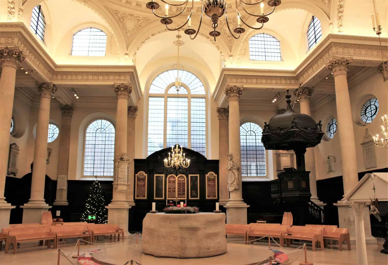 Inside St Stephen church in central London.