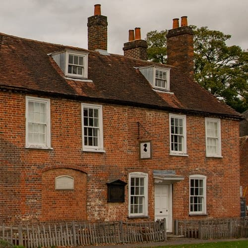 The house in Chawton, Hampshire where Jane Austen lived when her works were sent to publishers.