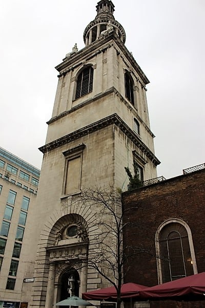 The steeple of the church from the outside.