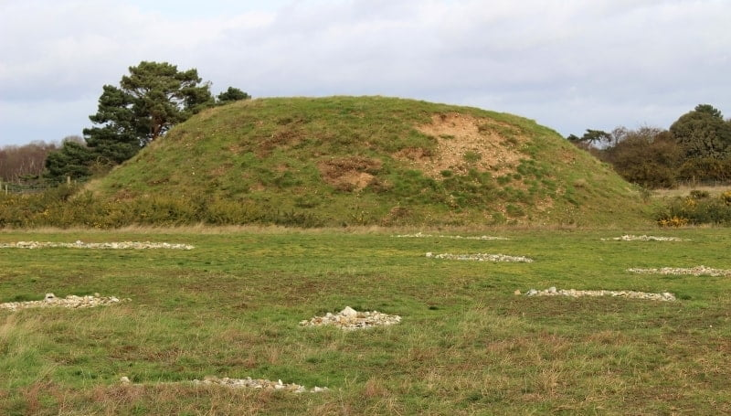 One of the mounds in the Royal Burial Ground at Sutton Hoo.