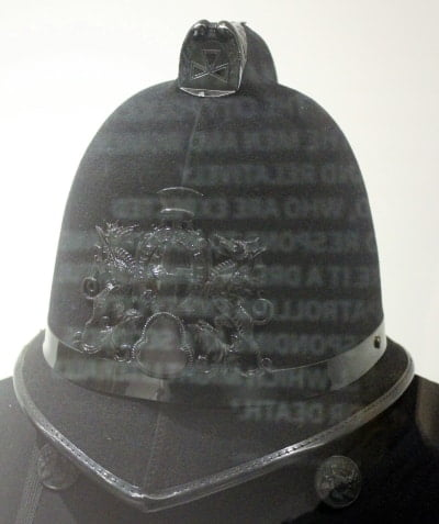 A police helmet in the Police Museum.