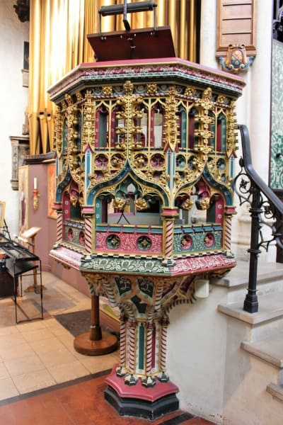 A close up of the pulpit in St Margarets church in London.
