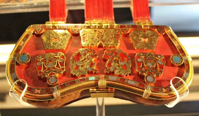 Replica purse of one of the finds at Sutton Hoo.