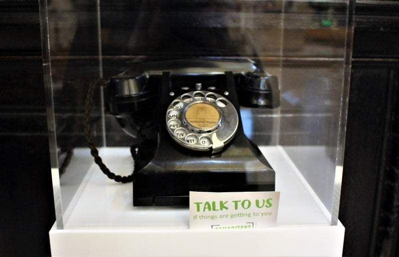 The bakelite telephone in a glass case at St Stephens Walbrook.