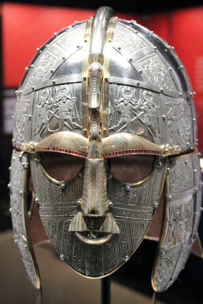 A close up of the replica helmet at Sutton Hoo.