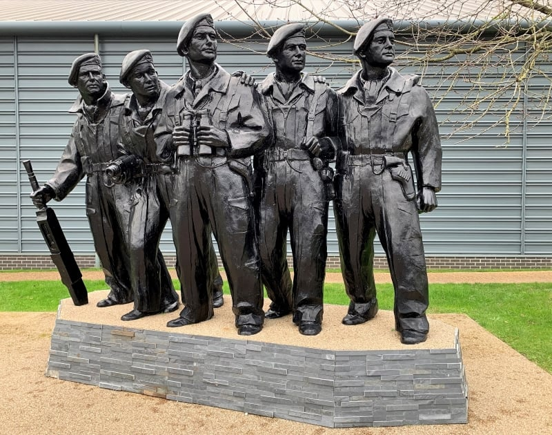 A statue of members of the Tank Regiment outside the Tank Museum in Bovington.