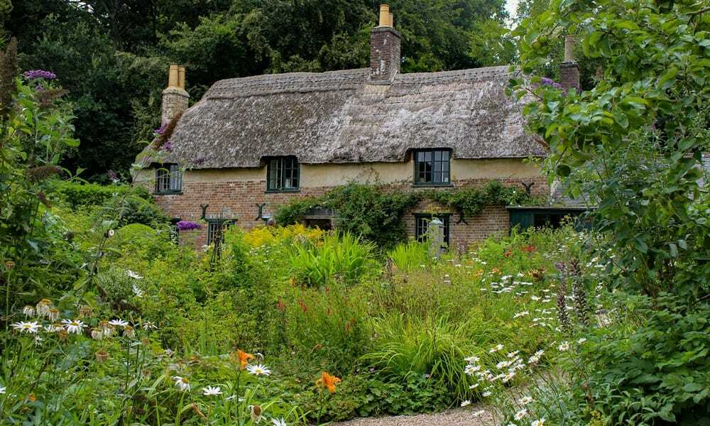 Th exterior of Thomas Hardy's cottage in Dorset.