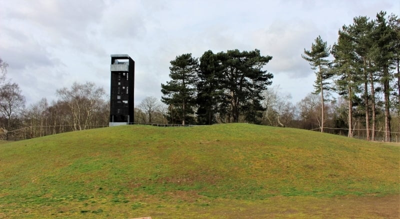 a viewing tower on top of a mound int he burial ground at Sutton Hoo.