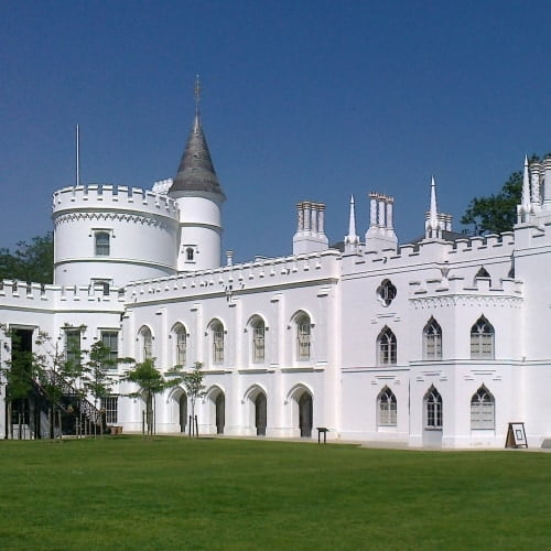The exterior of Strawberry Hill House in the sunshine.