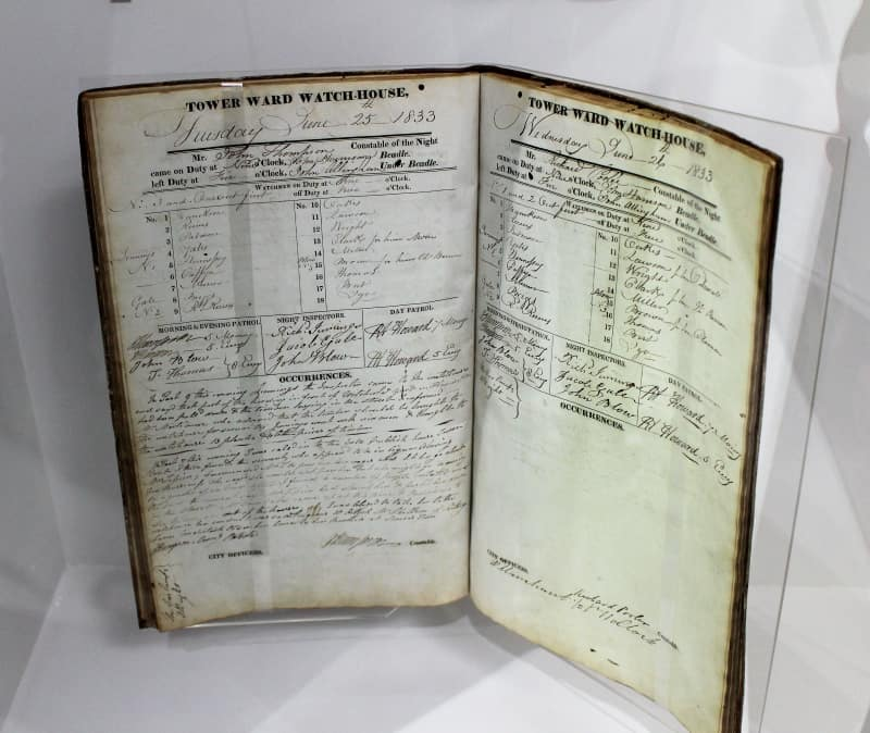 A close up of a ledger book for May 1833