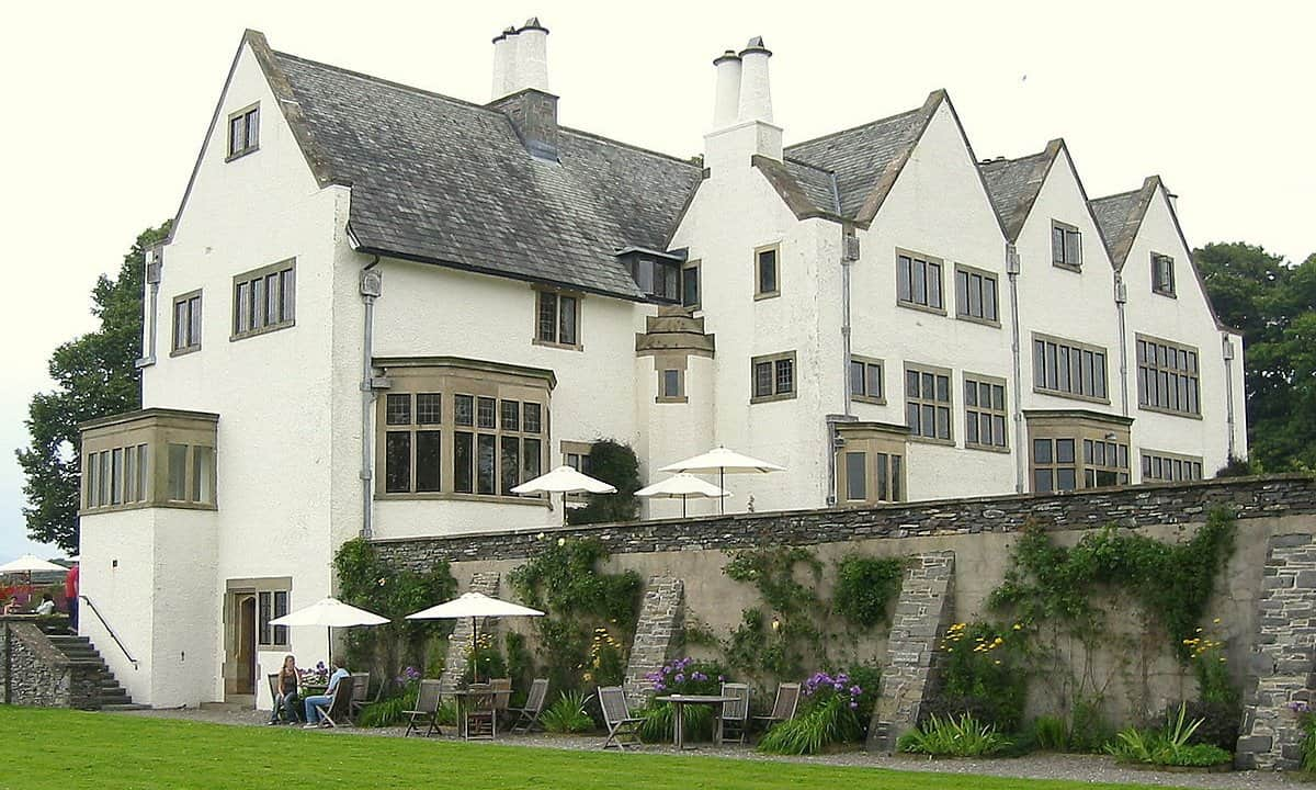 The striking white exterior of Blackwell Historic House in Cumbria.