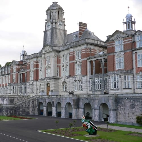 The exterior of the Royal Naval College at Dartmouth.