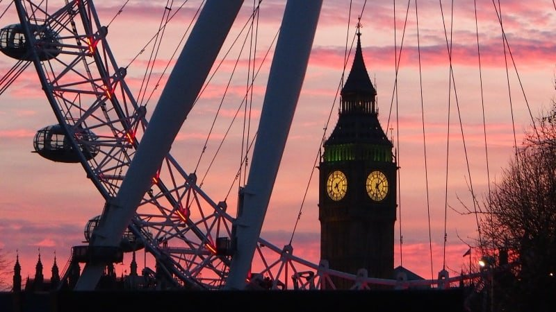 The London Eye in the sunset.