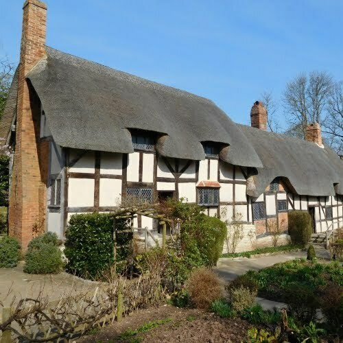 The outsid eof Mary Arden's cottage in Stratford upon Avon