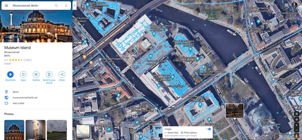 Aerial view of Museuminsel, Berlin from Google Street View.