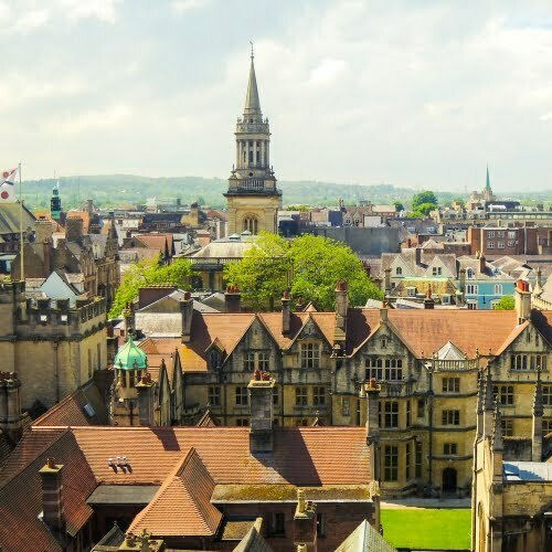 An aerial view over the rooftops of Oxford.