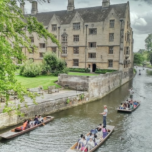 People punting down the River Cam in Cambridge.