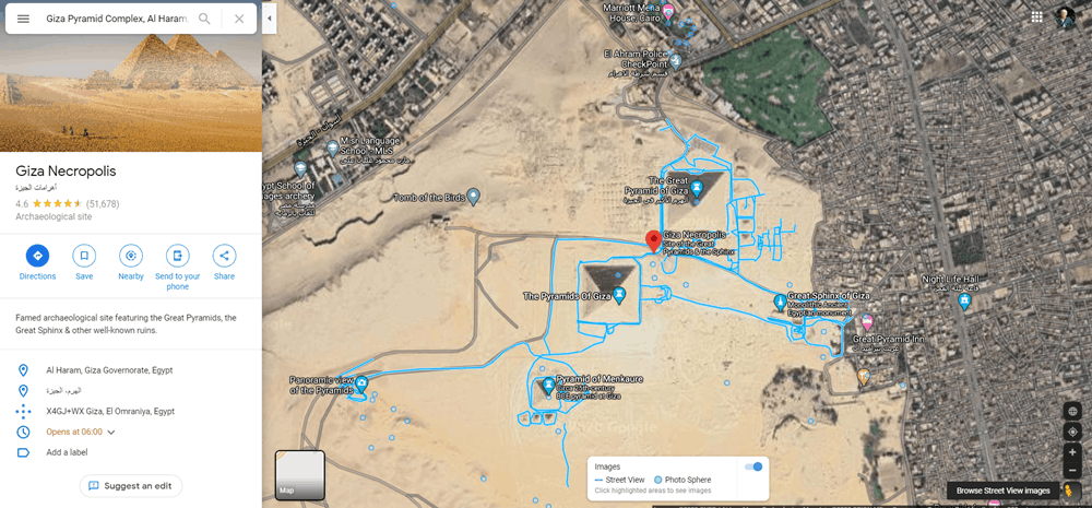 An aerial view of the pyramid complex at Giza, Egypt from Google maps.