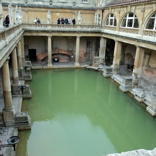 The Roman Baths in Bath from above.