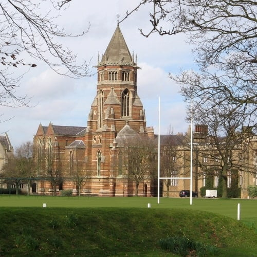 The exterior of Rugby School in Warwickshire.