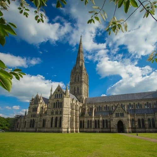 Salisbury Cathedral in the sunshine.