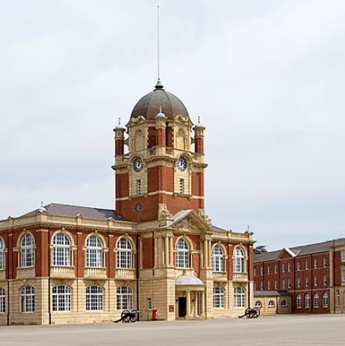 The exterior of Sandhurst Military Academy.