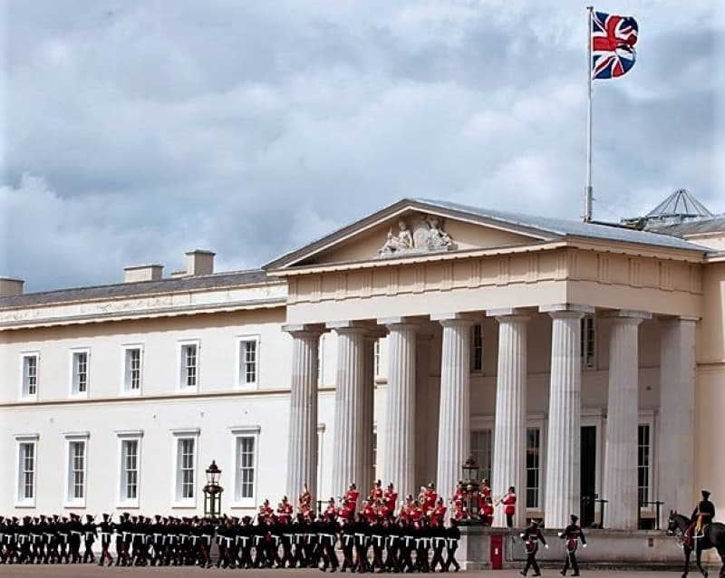 A parade outside the OldCollege at Sandhurst.